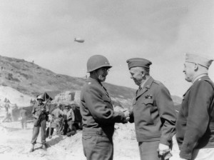 Marshall (right) greets General Omar Bradley,  commander of the U.S. First Army in Normandy in June 1944. Bradley was later elevated to command of the Allied 12th Army Group.