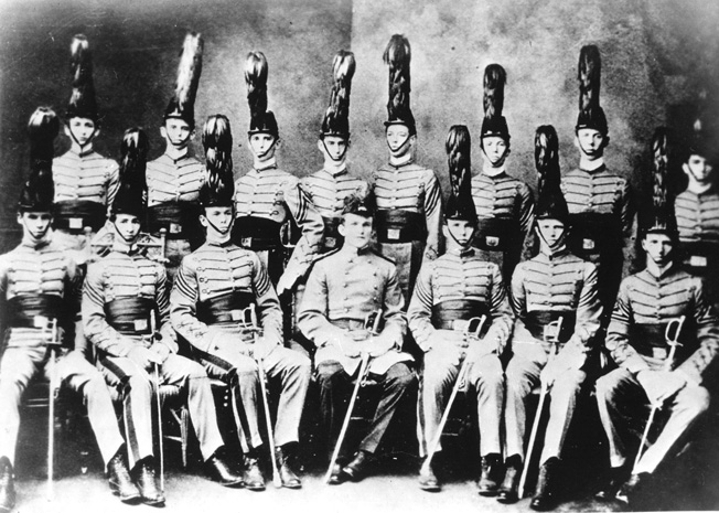 Unlike many of those high-ranking military officers who reported to him, Marshall attended the Virginia Military Institute, not West Point. In this photo, Marshall is shown front row center with other VMI cadets in 1901.