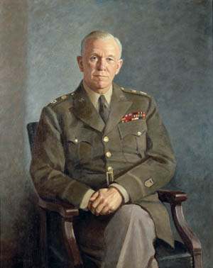 Wearing the five stars of General of the Army rank, U.S. Army Chief of Staff George C. Marshall sat for this portrait following the end of World War II. Marshall went on to serve as U.S. Secretary of State and formulate the Marshall Plan to rehabilitate warravaged Europe.