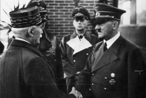 Marshal Philippe Pétain meets Hitler during the Fuhrer's trip to Spain, France, and Italy from October 21-28, 1940.
