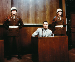 A gaunt Hermann Göring, former chief of the Nazi Luftwaffe, takes the witness stand during the Nuremberg trials.
