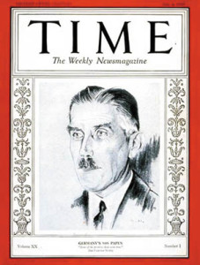 Papen made the cover of Time on July 4, 1932.