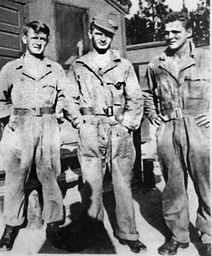 "Young recruits Warren ""Skip"" Muck, Joe Toye, and Don Malarkey at Camp MacKall, North Carolina. Malarkey quickly befriended Muck and later struggled with Muck's death."
