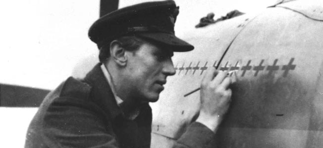 """""""There's a lot of room there for a lot more,"""" quipped Beurling as he painted crosses on the fuselage of his Supermarine Spitfire fighter on October 15, 1943."""