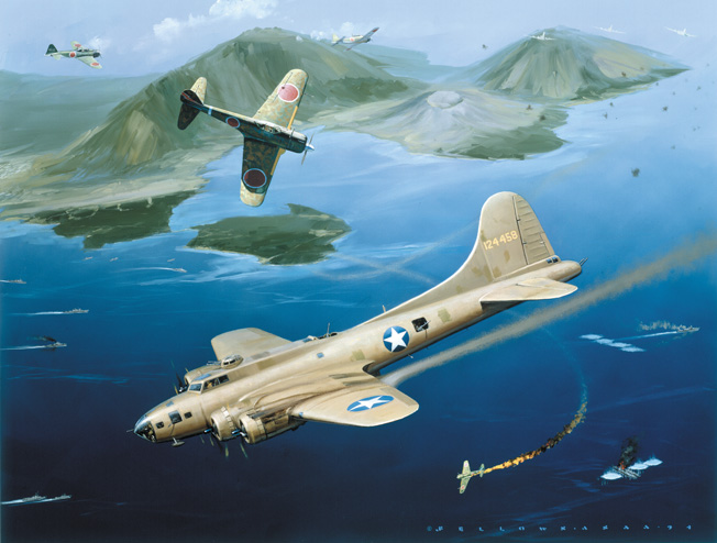 The sea stretched out beneath them, Japanese zeros swarm around a B-17 bomber during the assault on the Japanese stronghold of Rabaul in this painting by Jack Fellows.