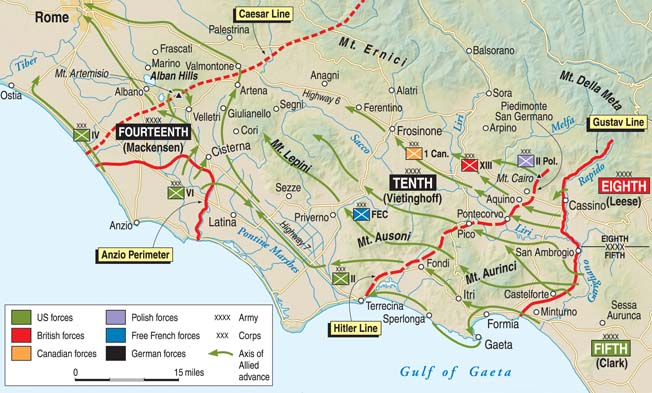 The coordinated Allied Operation Diadem offensive finally broke the stalemate along the Gustav Line, while the languishing Allied troops at Anzio mustered the strength to break out of their beachhead where landings had been stymied in January 1944.