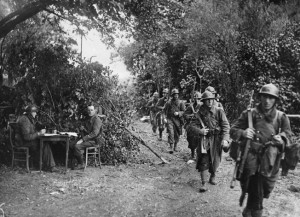 French Poilus march to the front. Erwin Rommel's blitz so unnerved the French that their divisions became disorganized and demoralized.