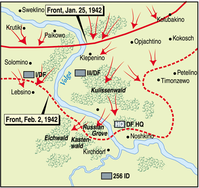 Advance elements of the Soviet thrust  against the Germans near Rzhev actually crossed the Volga River and threatened German headquarters positions before being contained in early February 1942.