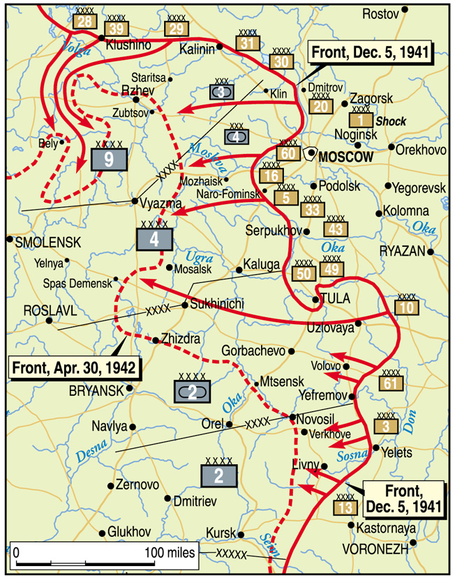 Red Army thrusts against German positions on the outskirts of Moscow succeed in relieving the immediate pressure on the capital of the Soviet Union, pushing the front line back some 100 miles by the end of April 1942.