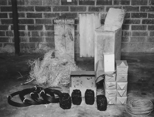 Crates containing TNT, coal bombs, and fuses recovered from the boxes buried by German saboteurs on Long Island.