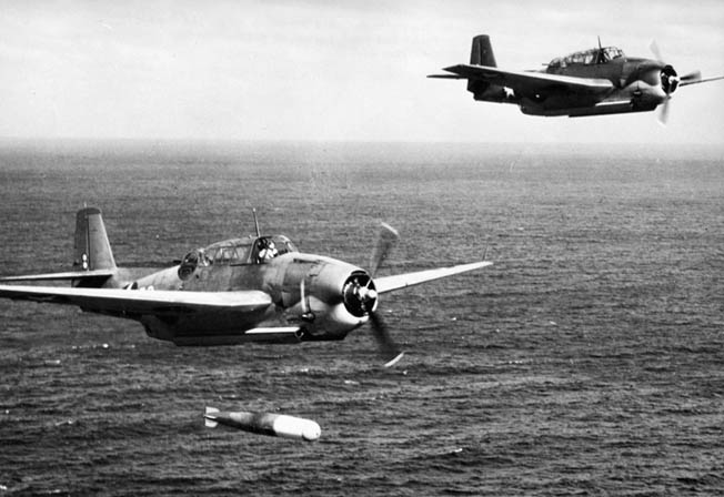 Grumman TBF Avenger torpedo bombers practice a torpedo run during training exercises on the East Coast of the United States. Avengers pilots were among the brave American fliers that made repeated runs at the Japanese ships off Samar even after their ammunition had been expended.
