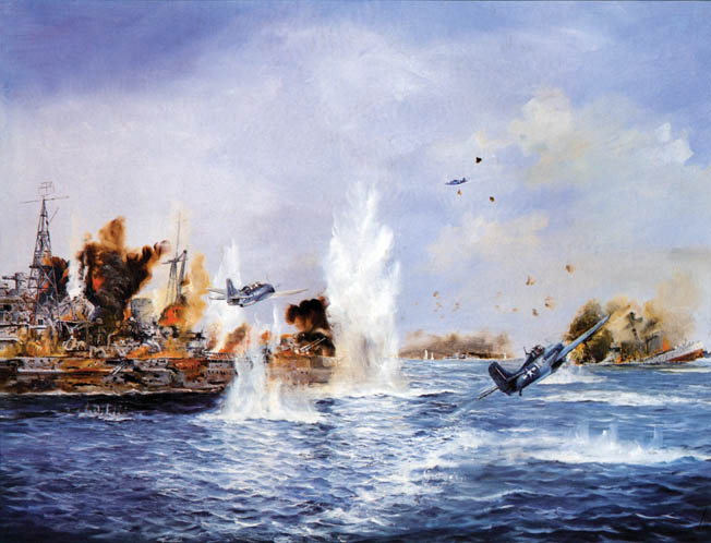 American aircraft press home attacks against the heavy Japanese warships that suddenly appeared near Taffy 3 off Samar on October 25, 1944. The Japanese cruiser Chokai was hit by American torpedoes and is shown far right sinking during the battle.