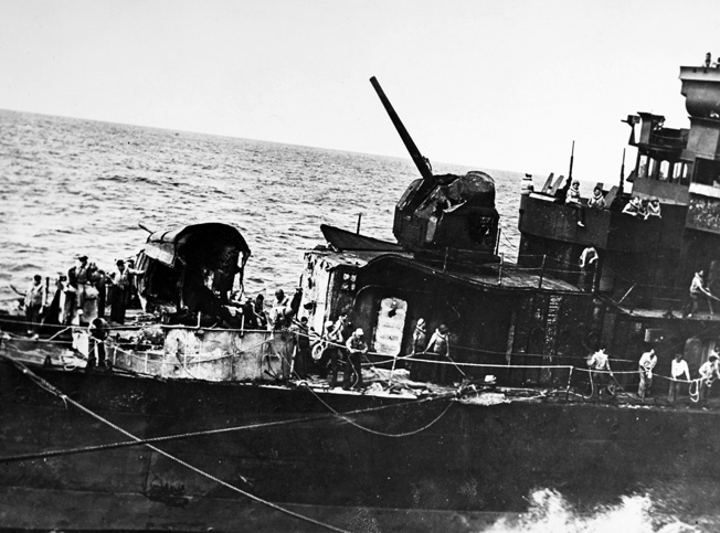 WORLD WAR II: NAVAL ACTION. Wreckage from a Japanese torpedo plane that crashed on the forecastle of the U.S. Navy destroy 'Smith' during the Battle of Santa Cruz, 20 November 1942.