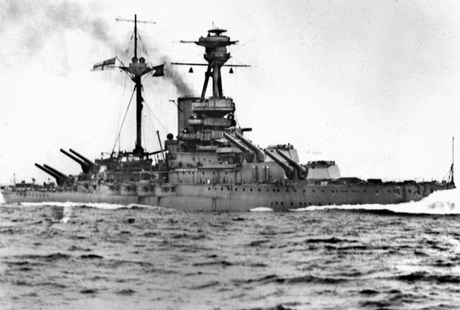 The Royal Oak shown firing its guns during action in World War I. By 1939 it was considered obsolescent, but its sinking was still a propaganda coup for Nazi Germany.
