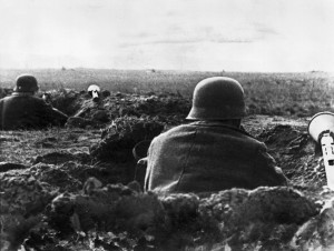 German soldiers with Panzerfaust anti-tank artillery in foxholes near the Seelow Heights.