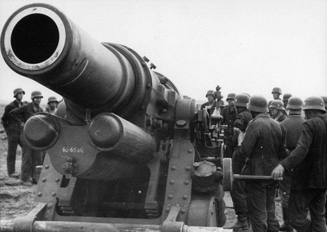 A large German siege gun is trained on a target deep inside Sevastopol city limits. The Germans used several mammoth guns in an attempt to soften the Russian defenses.