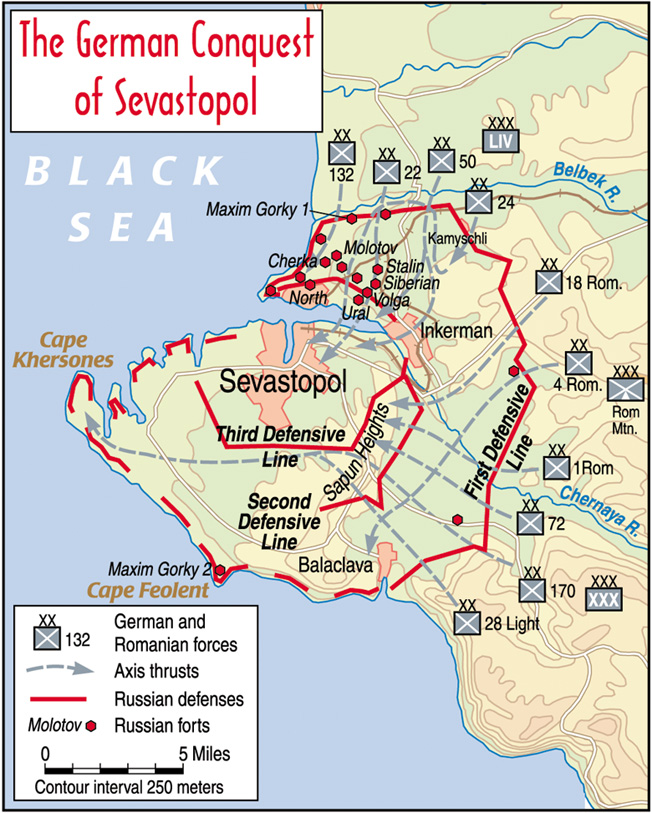 Although Sevastopol was encircled by a formidable ring of defenses, German efforts to cut off supply lines ensured that the Russians were slowly starved of supplies needed to wage war.
