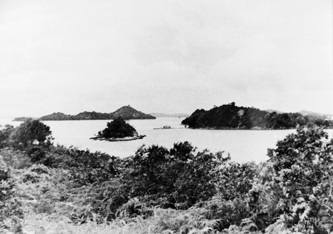 Subar island served as the launching point for the final run-in as Australian raiders hit shipping anchored in the harbor at Singapore.