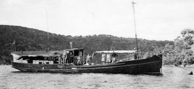 Converted from its original use as a fishing boat to wartime service, the Krait, which transported the Aus- tralian raiders during their assault on shipping in Singapore harbor, is shown resting at anchor. The Krait is on display today in an Australian museum.