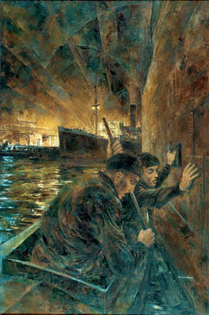 In this stirring portrayal by artist Dennis Adams, Australian commandos are depicted sabotaging Japanese shipping in Singapore harbor in September 1943. The initial raid against Singapore succeeded beyond the expectations of planners.