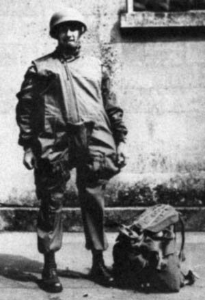 Shown in full combat gear, airborne officer John Singlaub was one of many paratroopers who added considerable weight to their bodies when fully loaded with equipment.