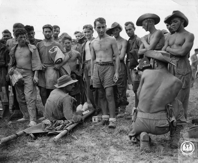 Recently liberated Allied prisoners of the Japanese show the effects of their time in captivity. Starvation and disease took their toll on the POWs, some of whom were in enemy hands for years.