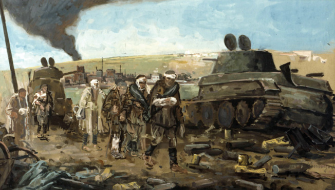The German army lost momentum at Smolensk, but the Soviets paid a high price in slowing the enemy. In this painting titled After the Battle of Smolensk, artist Roman Feldmeyer shows Russian prisoners streaming toward captivity.