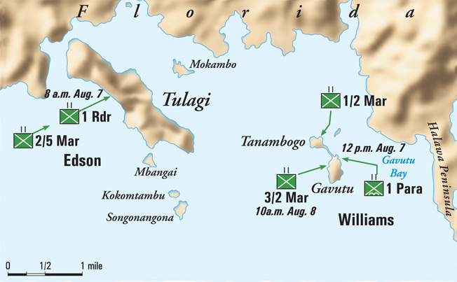 The islands of Tulagi, Tanambogo, and Gavutu are located in the southern Solomons. Control of these small islands was deemed critical to the success of U.S. landings on Guadalcanal and subsequent ability to resupply the Marines ashore.
