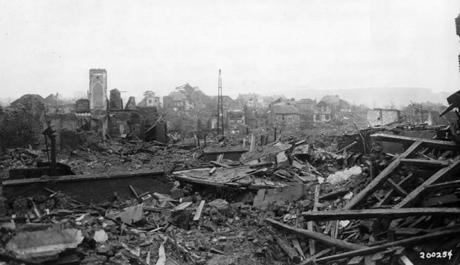 St. Vith lies a desolate ruin on February 7, 1945, days after the desperate fight for control of the key Belgian village was over.