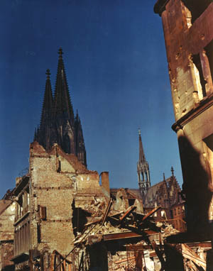 The ancient Cologne Cathedral was extensively damaged by Allied bombs. Countless European cultural treasures were destroyed or scarred by the ravages of war.