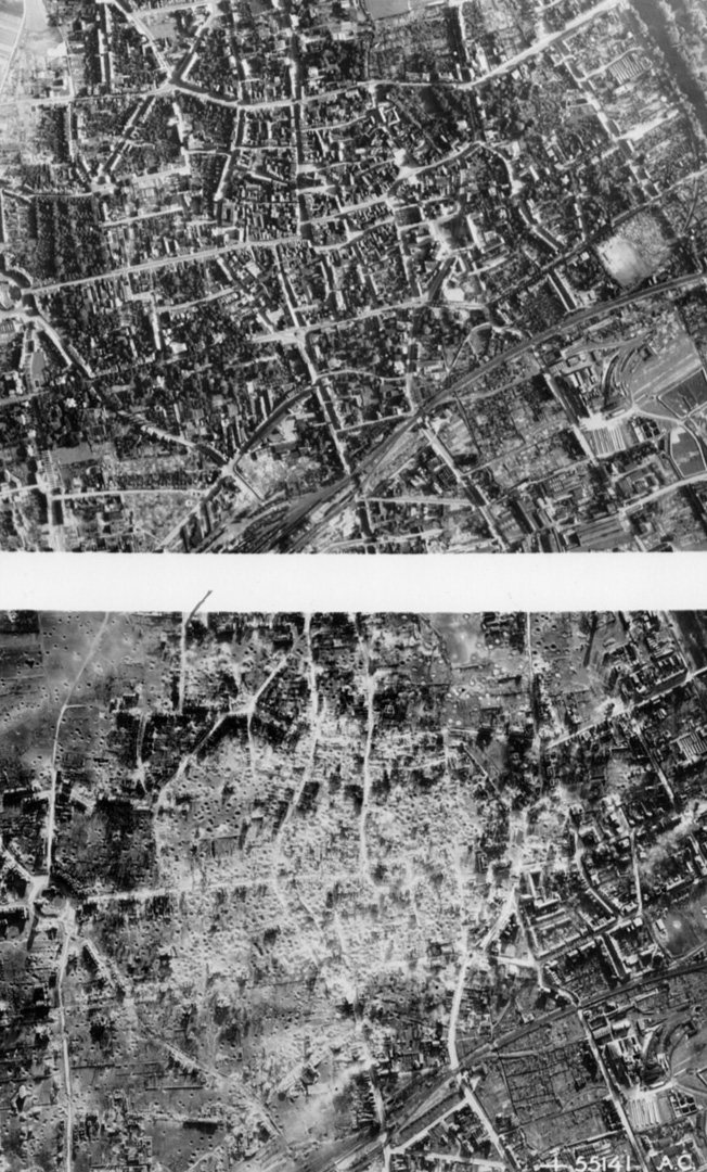 Photos of city Duren, German, before (Top) and after repeated Allied bombing raids bear stark testimony to the devastation of the aerial onslaught.