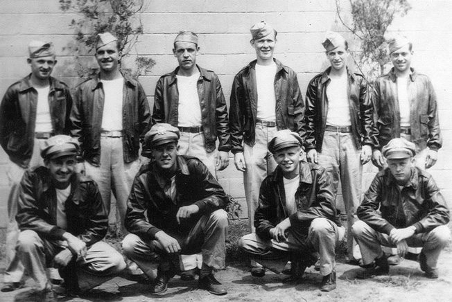 German Death March survivor Steve Stupak stands at the far left in this photograph of the crew of the B-17 Bomber A Little Behind.