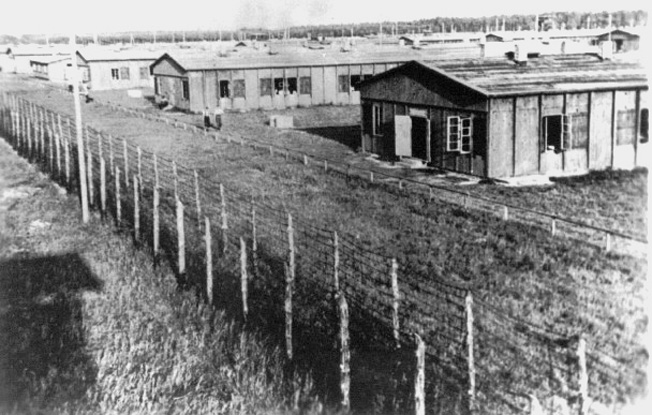 This view of Lager A, Stalag Luft IV, focuses on Barracks 1,2, and 3. The conditions American prisoners lived in were primitive. Food was often scarce, and cold weather was particularly difficult.