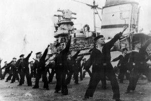 Sailors of the Soviet Black Sea Fleet participate in morning exercises aboard the ship.