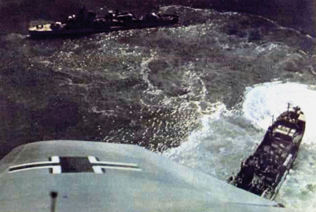 A photographer aboard a German bomber snapped this photograph while flying low over vessels of the Soviet Navy and civilian transport craft that have been caught in the open in the Gulf of Finland.