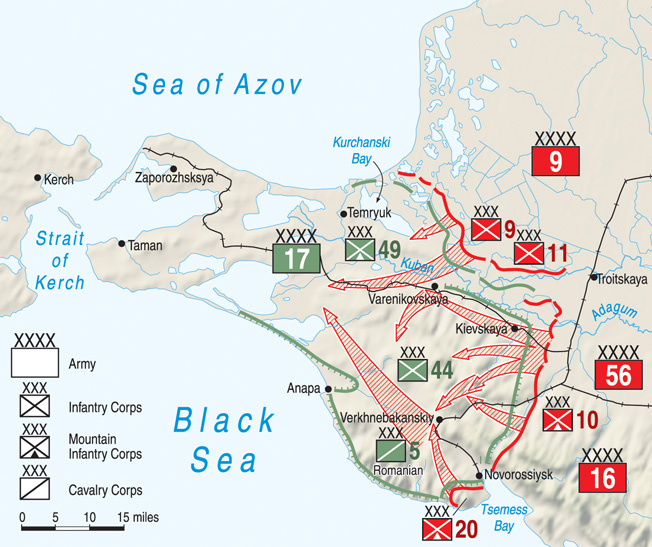 A coordinated month-long Soviet Army offensive along the coast of the Black Sea liberated the Taman Peninsula from the Germans. The locations of Soviet land and seaborne thrusts are visible in the above map.