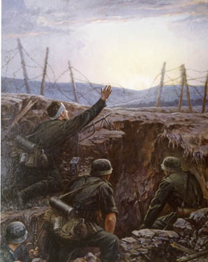 The Germans believed they had an impregnable position on the Taman Peninsula, but the persistent Soviet Army forced their retreat and eventual evacuation. Painting by Josef Jurutka.