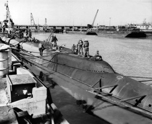 This photo was taken while the USS Tambor was anchored at the Mare Island naval facility from December 1944 to March 1945. During her stay in port, the submarine received much-needed repairs to damage sustained during several successful combat patrols.