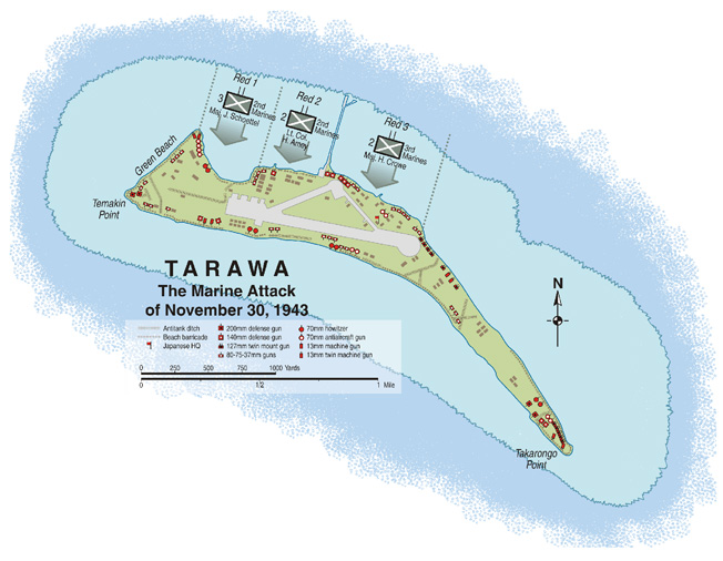Betio islet, shaped roughly like a parrot, was the scene of horrific fighting as U.S. Marines captured Tarawa atoll. The landing beaches were designated Red 1 through Red 3, running west to east on the reef side of the islet. Beaches designated Green and Black were considered much less suitable for landing operations.