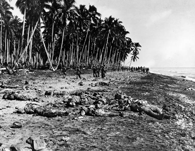 The heavy cost the Japanese paid trying to retake Guadalcanal is evident in the image of slain Japanese at the mouth of the Ilu River, which the Americans called Alligator Creek.