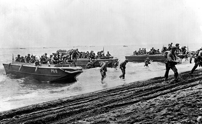 Marines land unopposed on Guadalcanal in August 1942. Allied control of Guadalcanal was essential for the southwestern Pacific offensive against Imperial Japan.