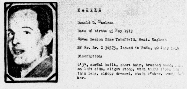 """A """"Wanted"""" poster issued by the F.B.I. in 1951 for Donald Maclean."""