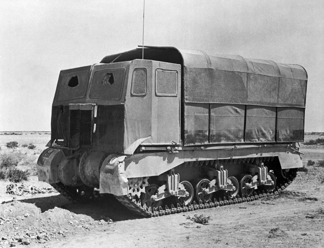 This British Grant tank has been fitted with the innovative sunshield camouflage to resemble a truck. German reconnaissance aircraft were repeatedly fooled by the effective scheme.