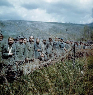 Some of the thousands of prisoners taken during the spring offensive of the Allied Fifth Army in Italy in 1945 gaze from behind a temporary enclosure of barbed wire. These were some of the lucky ones, as German casualties mounted during the last days of the war.