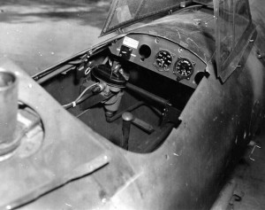 The cramped cockpit of the interior of a Rechenberg Project flying bomb is seen at an assembly facility captured by troops of the U.S. 29th Infantry Division.