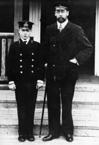 King George V of England poses with his young son, Edward, who later gave up the throne for the woman he loved.