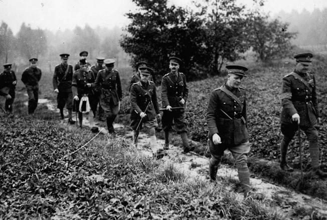 The Duke of Windsor, fourth from the right, accompanies the Viscount Gort and a contingent of British Army officers during an inspection of troops in France early in World War II.