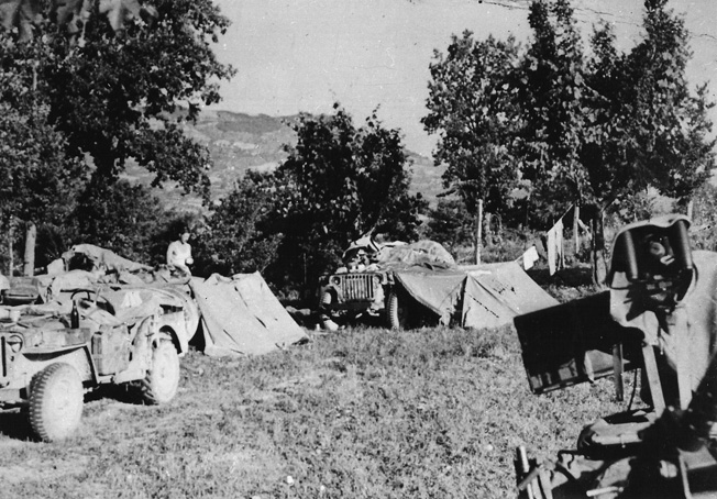 The fighting men of Popski's Private Army were experts in hit-and-run tactics. One of their camps is shown in Italy late in the war as preparations are made for the departure of a patrol.