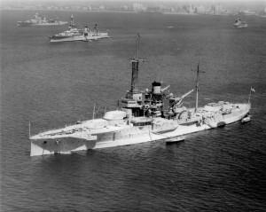 While serving as a target ship off Long Beach, California, on April 18, 1935, the USS Utah lies at anchor. The aging warship's armaments had been previously removed to comply with the terms of the London Naval Treaty.