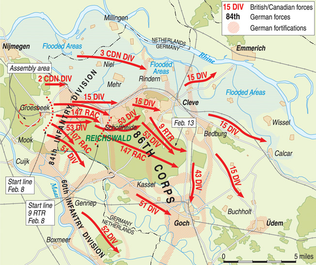 The heavily wooded Reichswald impeded British progress toward the Ruhr during Operation Veritable as the Germans contested key crossroads and fortified numerous positions throughout the extensive forest.